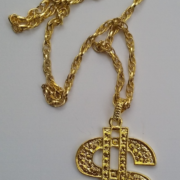 Bling Dollar Pendant Necklace Gold