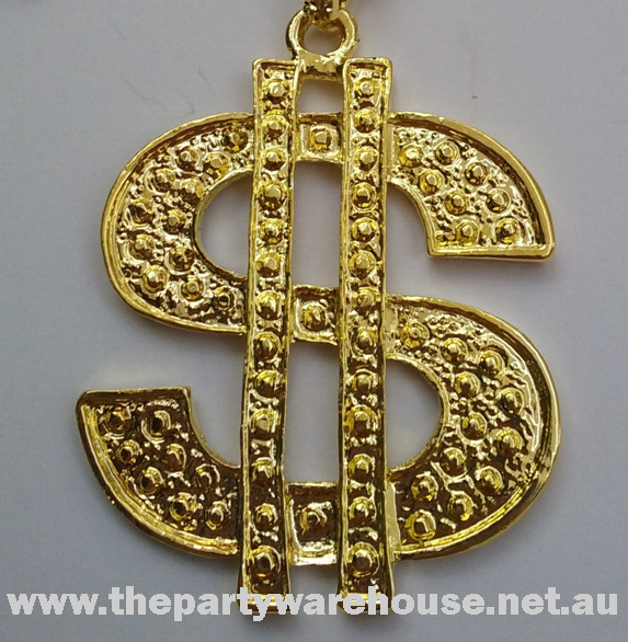 Bling Dollar Sign Pendant Necklace