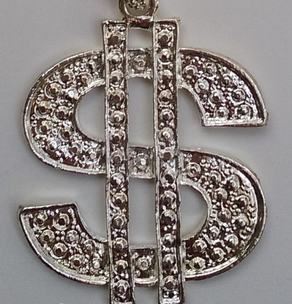 Bling Dollar Sign Pendant Necklace Silver