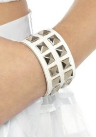 Studded White Wristband