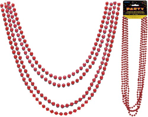 Metallic Bead Necklaces Red