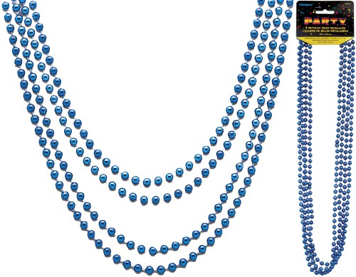 Metallic Bead Necklaces Blue