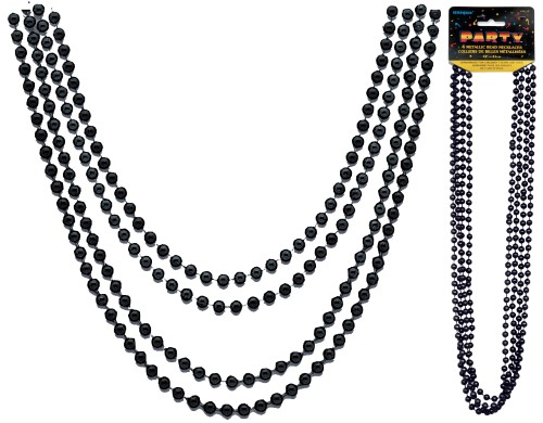 Metallic Bead Necklaces Black