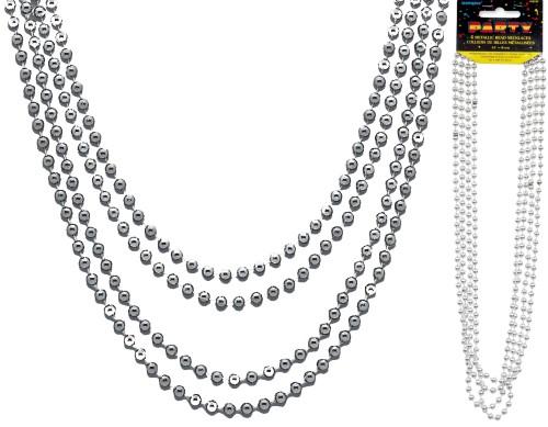 Metallic Bead Necklaces Silver