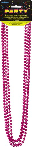 Metallic Bead Necklaces Hot Pink