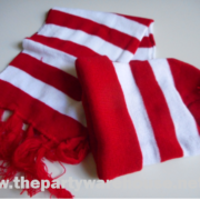 Red and White Striped Beanie and Scarf
