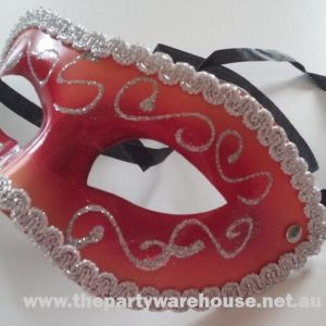 Masquerade Mask - Burgundy / Red