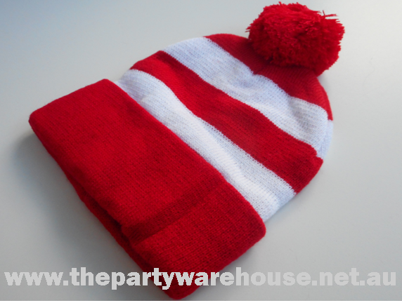 0d11aecec20 Wally Red   White Striped Knitted Beanie – The Party Warehouse ...