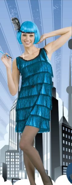 Flapper Dress with Tassels - Blue