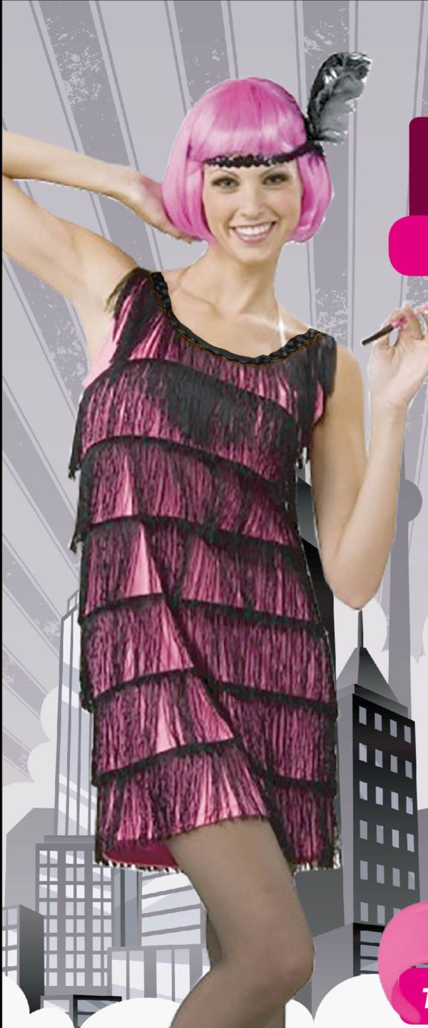 Flapper Dress with Tassels - Hot Pink
