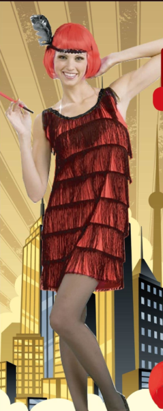 Flapper Dress with Tassels - Red