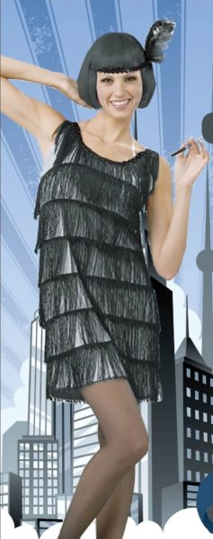 Flapper Dress with Tassels - Silver