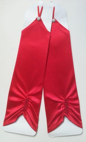 Fingerless Gloves Satin Red
