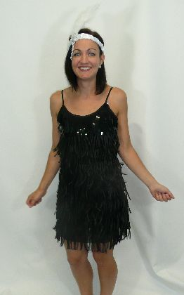 1920's Flapper Dress Black