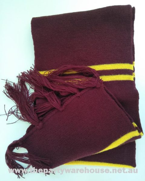 Scarf Burgundy Yellow Stripe